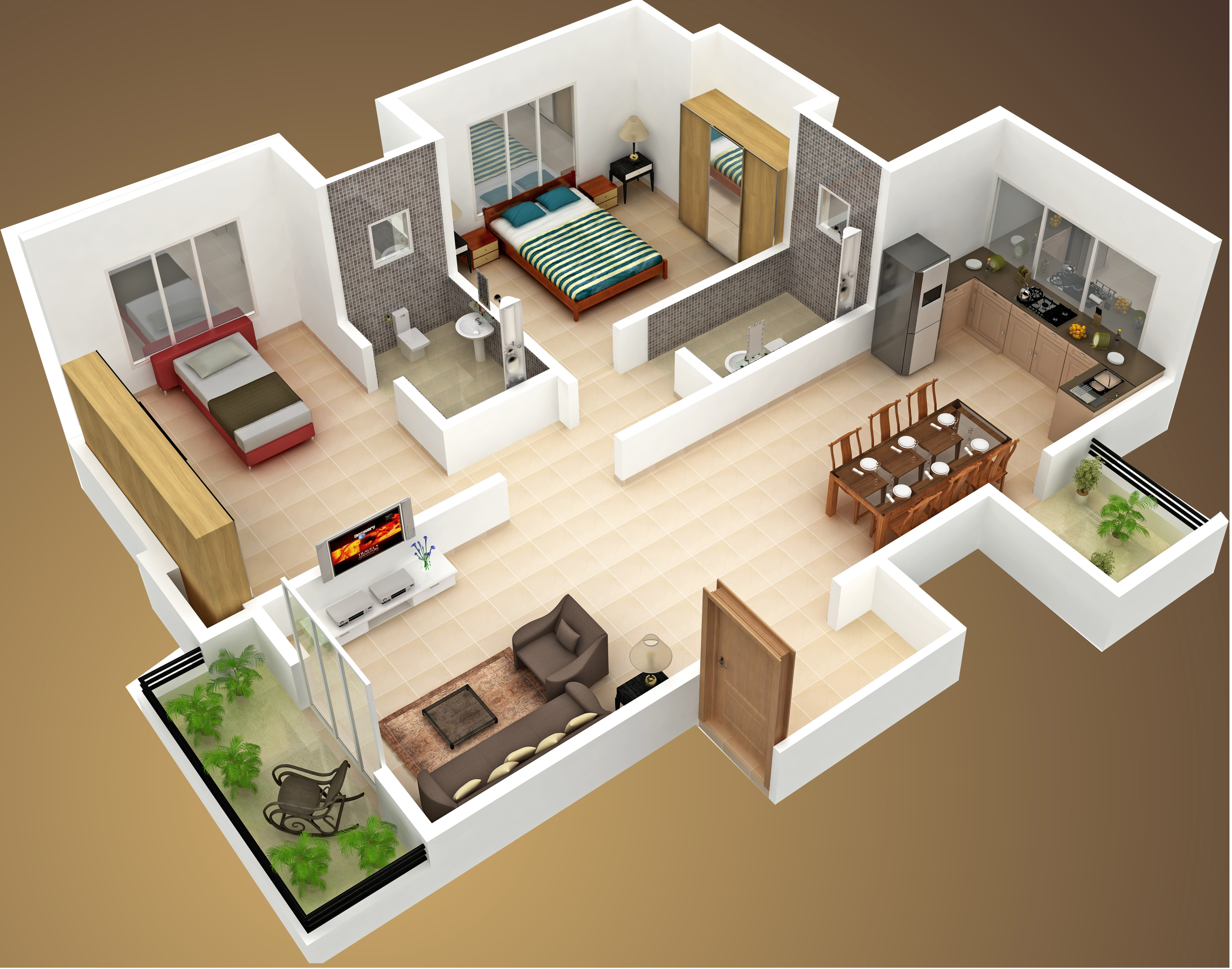 House plan with 3d view 28 images 2 bedroom house for 3d view of house interior design